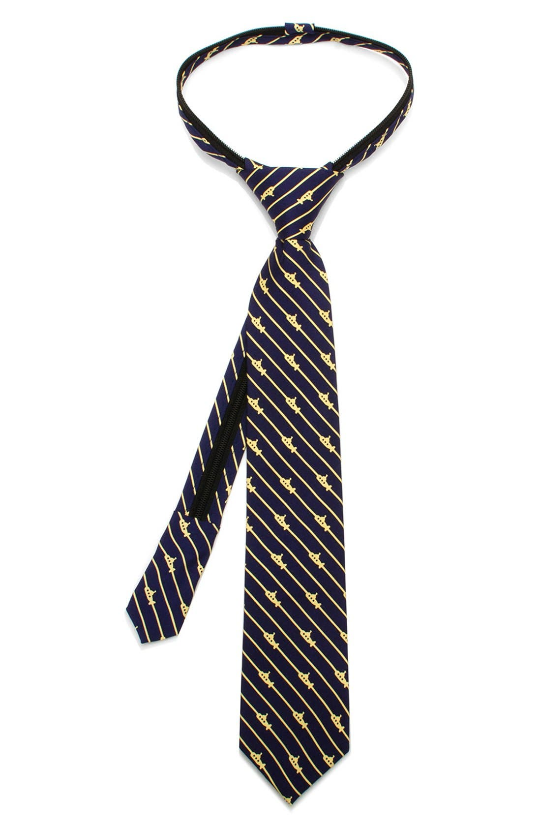 Main Image - Ox and Bull Trading Co. 'Submarine Stripe' Zipper Silk Tie (Little Boys)