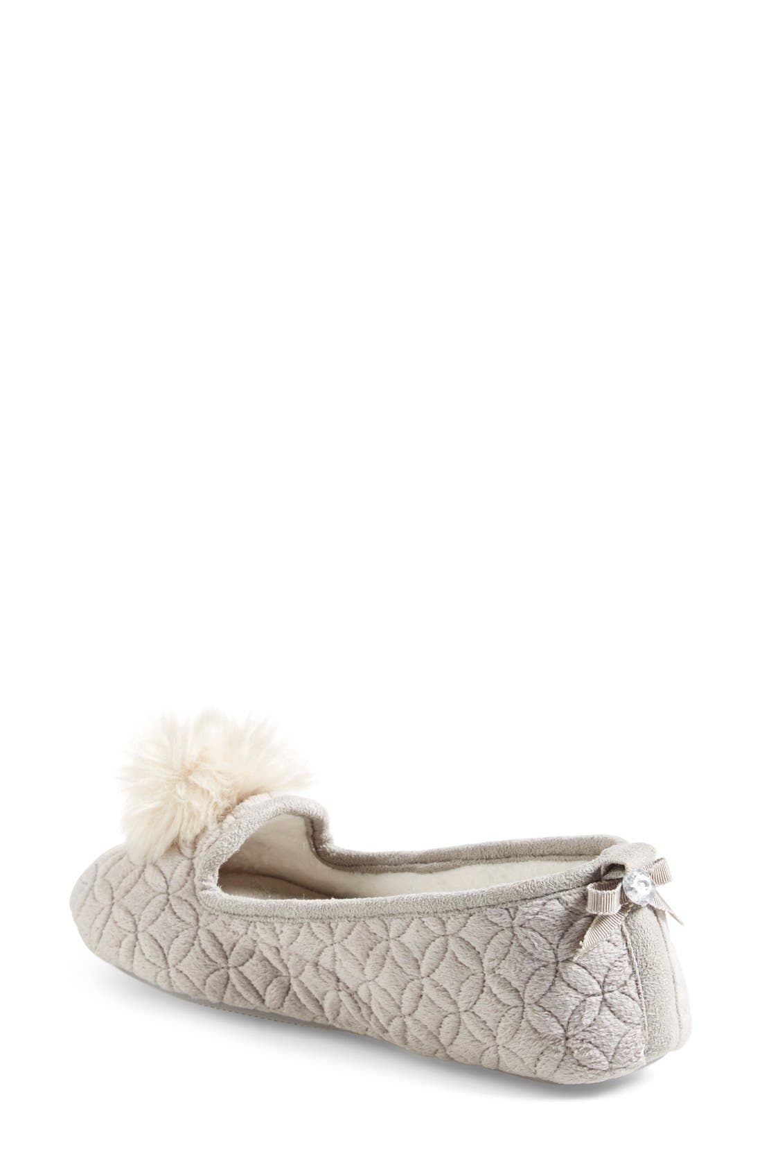 Alternate Image 4  - Pretty You London 'Opera' Quilted Faux Fur Pompom Slipper