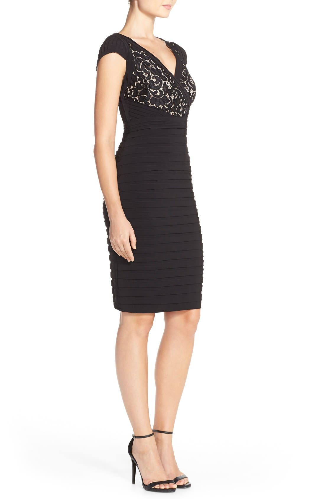 Lace & Jersey Sheath Dress,                             Alternate thumbnail 3, color,                             Black