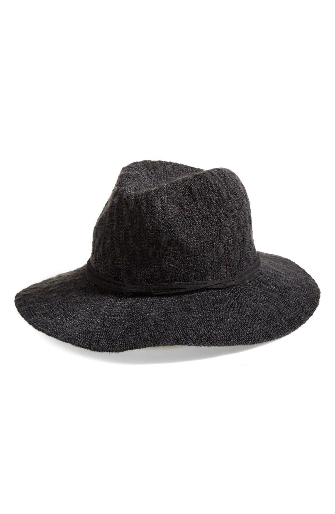 Slub Knit Panama Hat,                         Main,                         color, Black