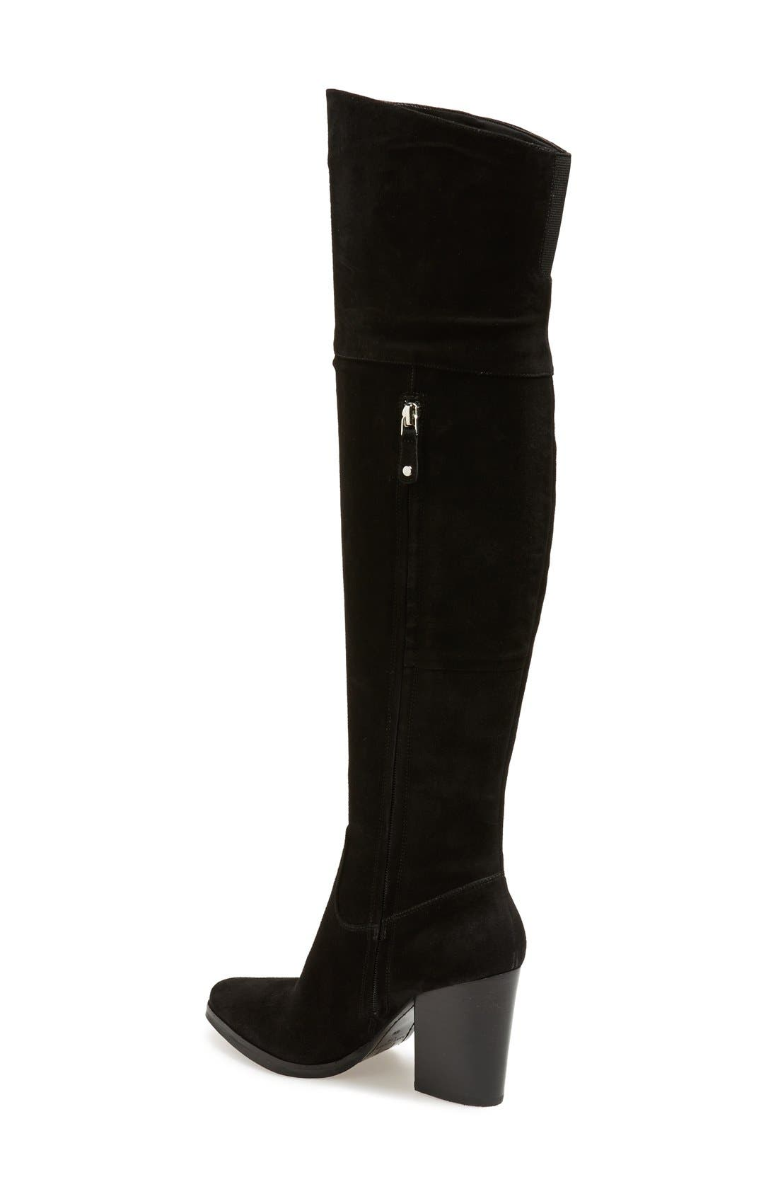 'Alana' Over the Knee Boot,                             Alternate thumbnail 2, color,                             Black Suede
