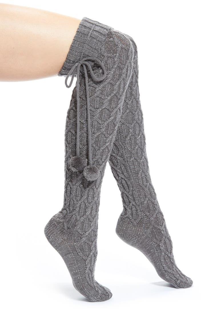 Ugg 174 Pompom Cable Knit Over The Knee Socks Nordstrom