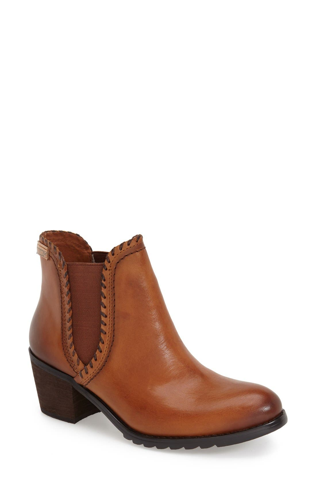 'Andorra' Water Resistant Bootie,                             Main thumbnail 1, color,                             Brandy Leather
