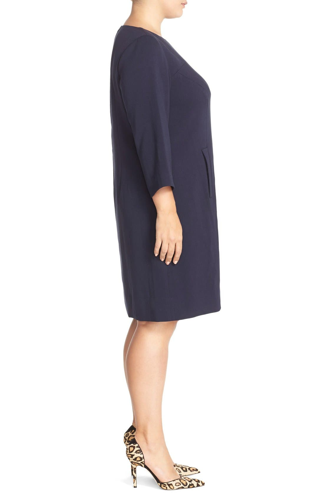 Alternate Image 3  - Eliza J Pocket Detail Shift Dress (Plus Size)