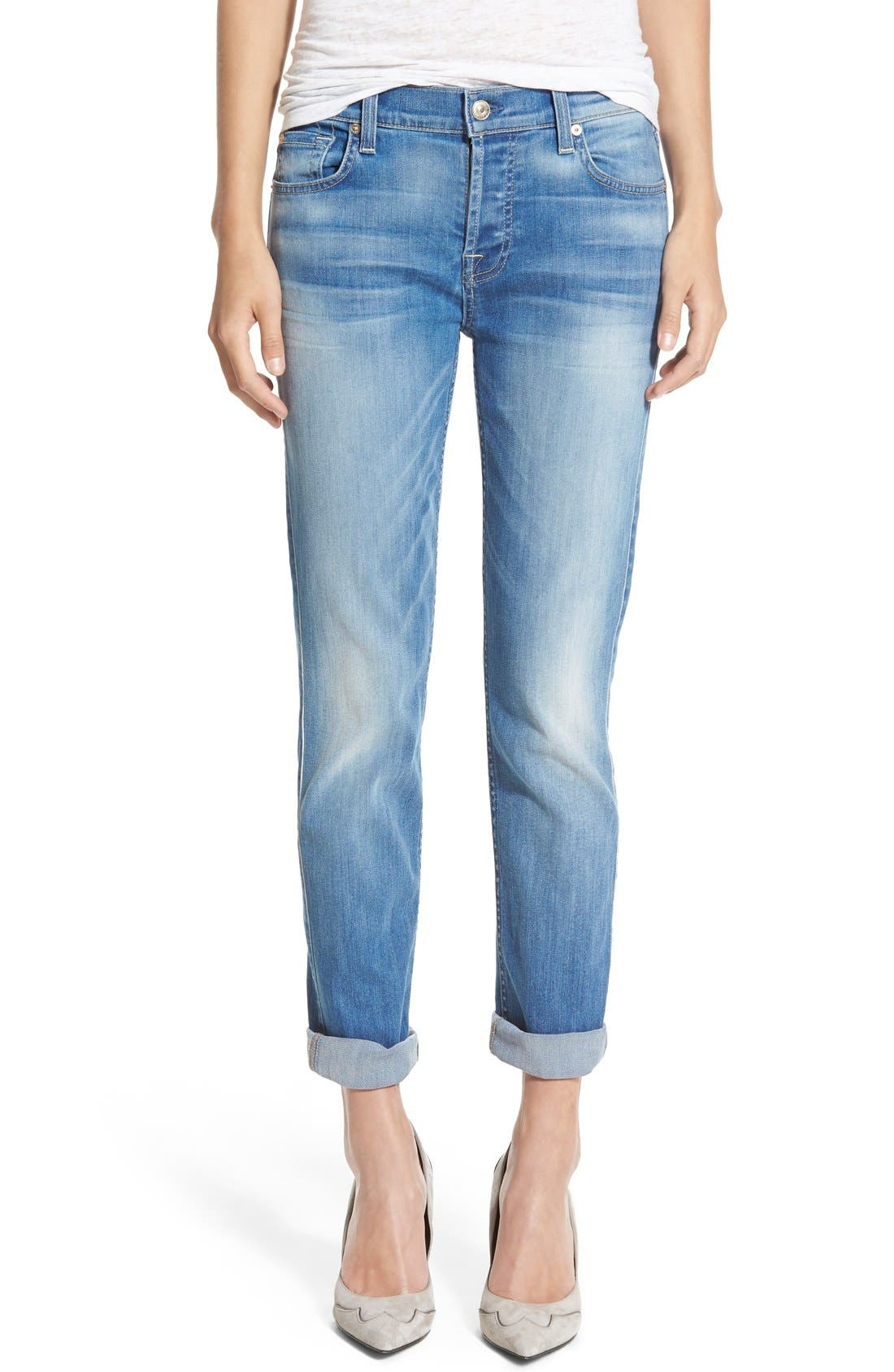 Main Image - 7 For All Mankind® 'Josefina' Boyfriend Jeans (Icicle Blue)