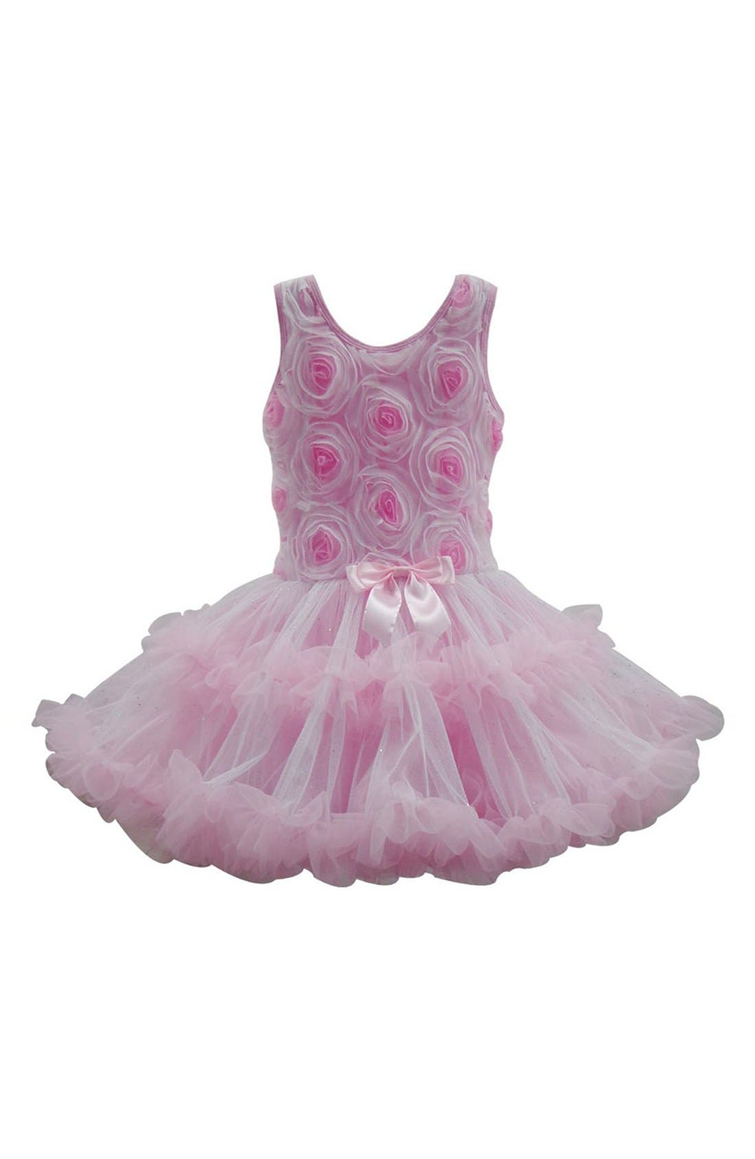 Ribbon Rosette Flower Petidress,                             Main thumbnail 1, color,                             Pink