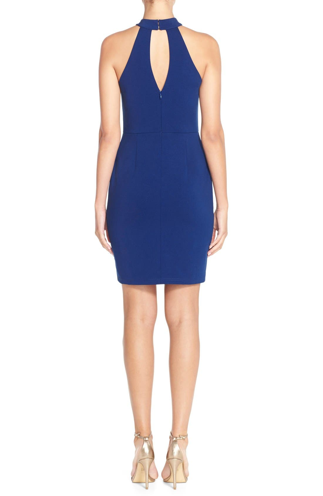 Alternate Image 2  - Adelyn Rae Split Front Ponte Body-Con Dress