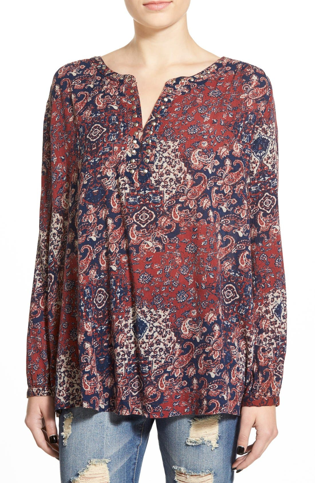 Alternate Image 1 Selected - Sun & Shadow Stud Trim Print Swing Tunic