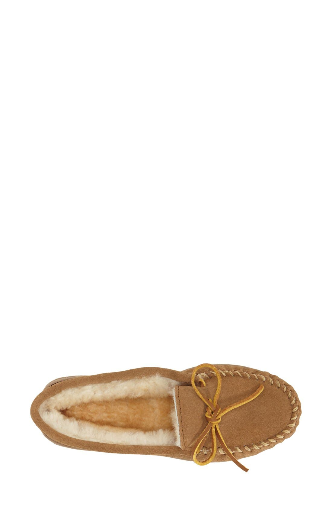 Sheepskin Hard Sole Moccasin Slipper,                             Alternate thumbnail 3, color,                             Tan Suede