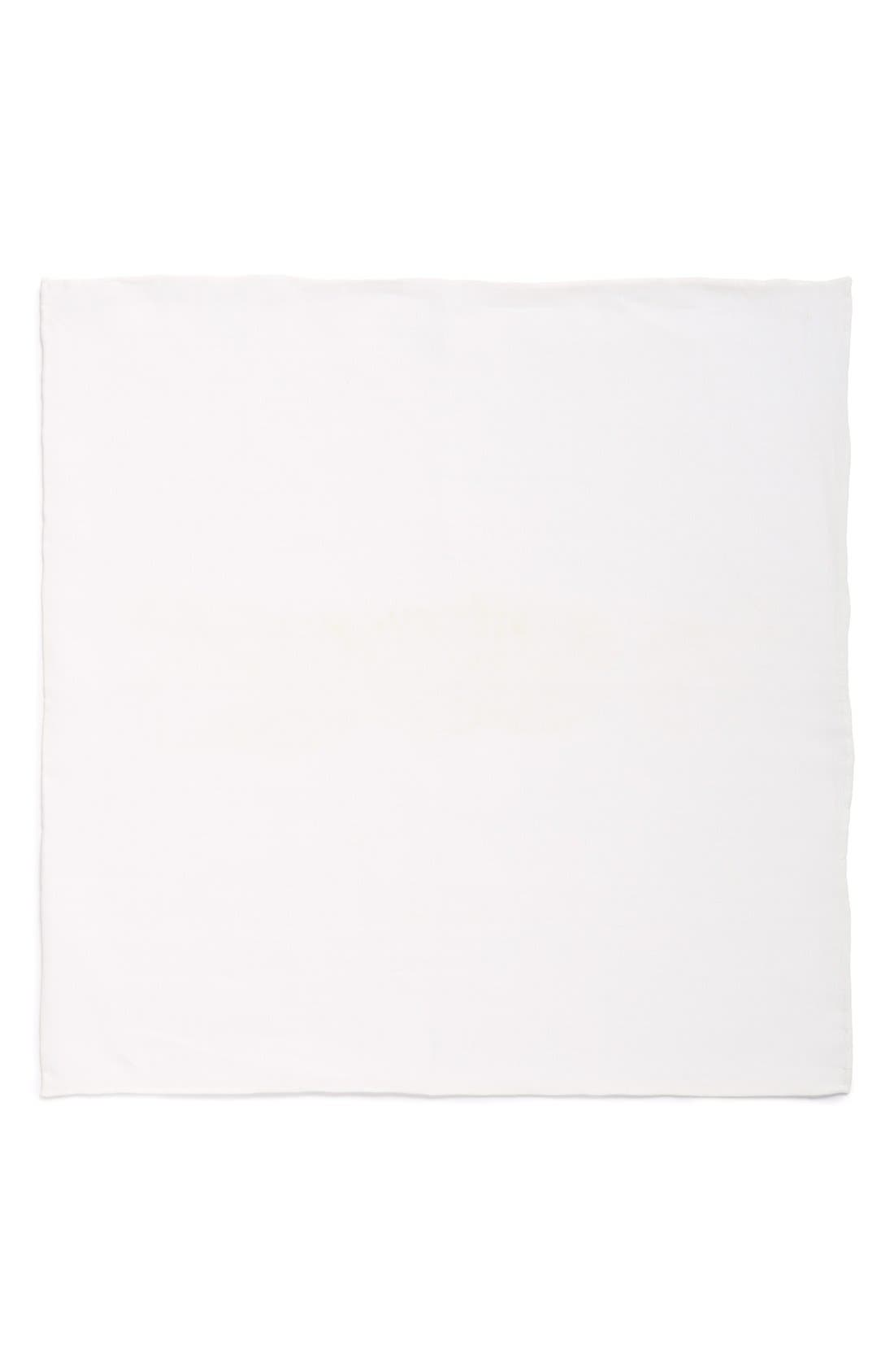 Solid Linen Pocket Square,                             Alternate thumbnail 2, color,                             White