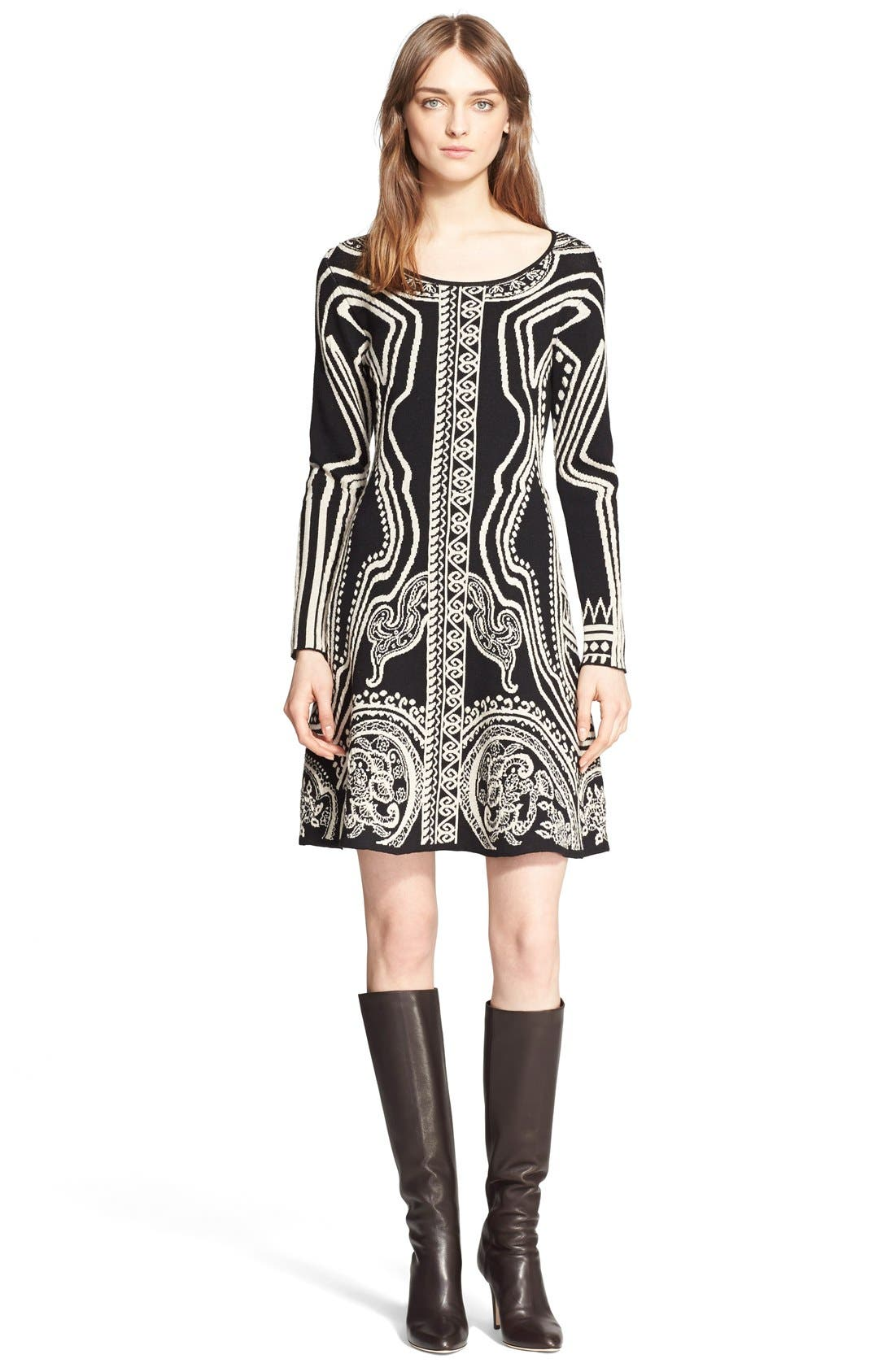Main Image - Etro Paisley Intarsia Knit Long Sleeve Dress