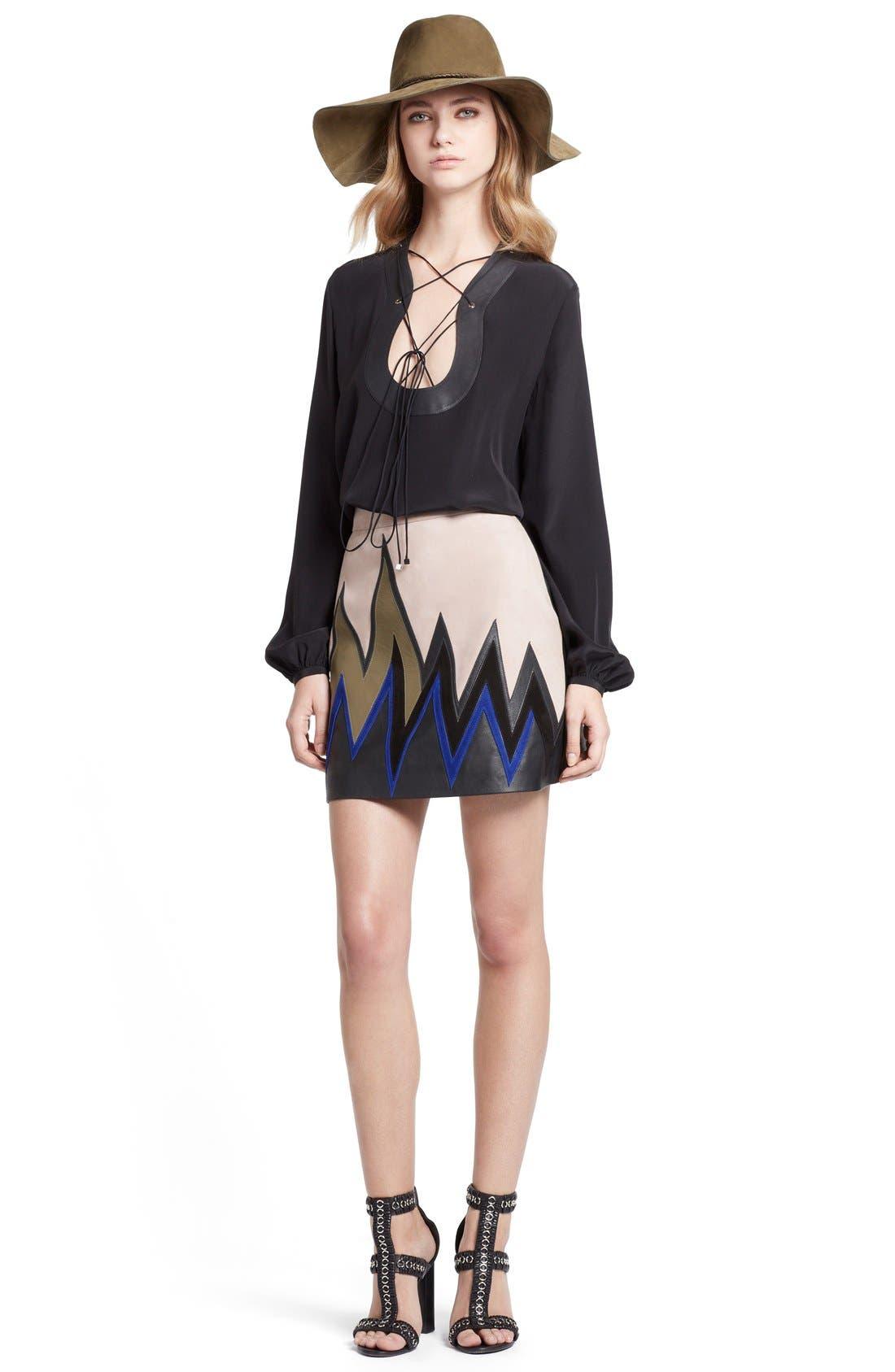 Alternate Image 4  - Emilio Pucci Leather Trim Lace-Up Neck Silk Shirt
