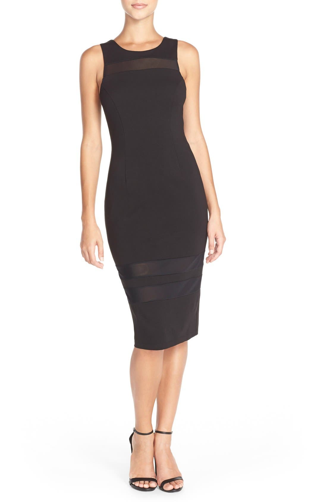 Main Image - Charlie Jade Mesh Inset Jersey Body-Con Dress