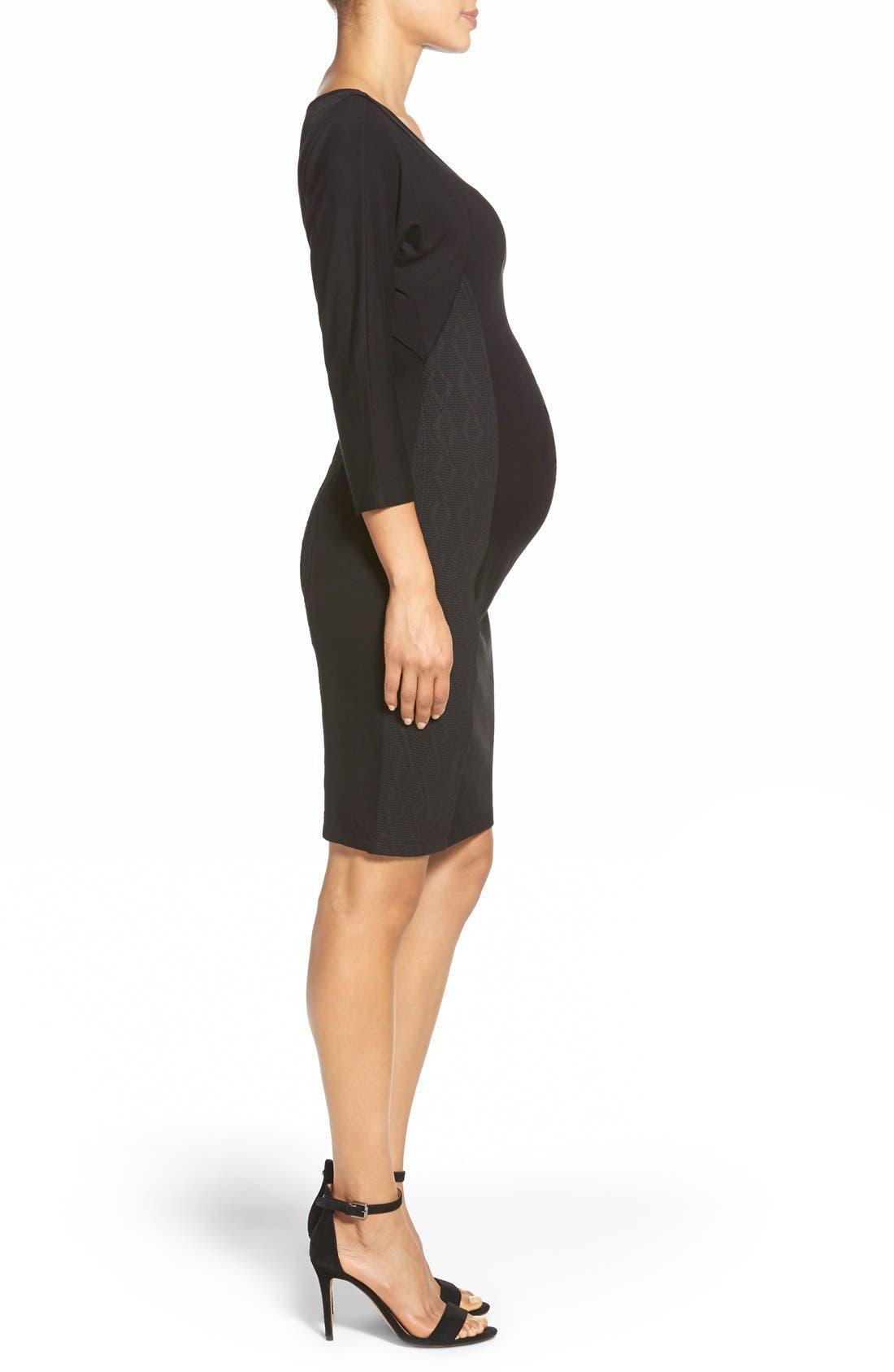 'Telsa' Maternity Dress,                             Alternate thumbnail 3, color,                             Black