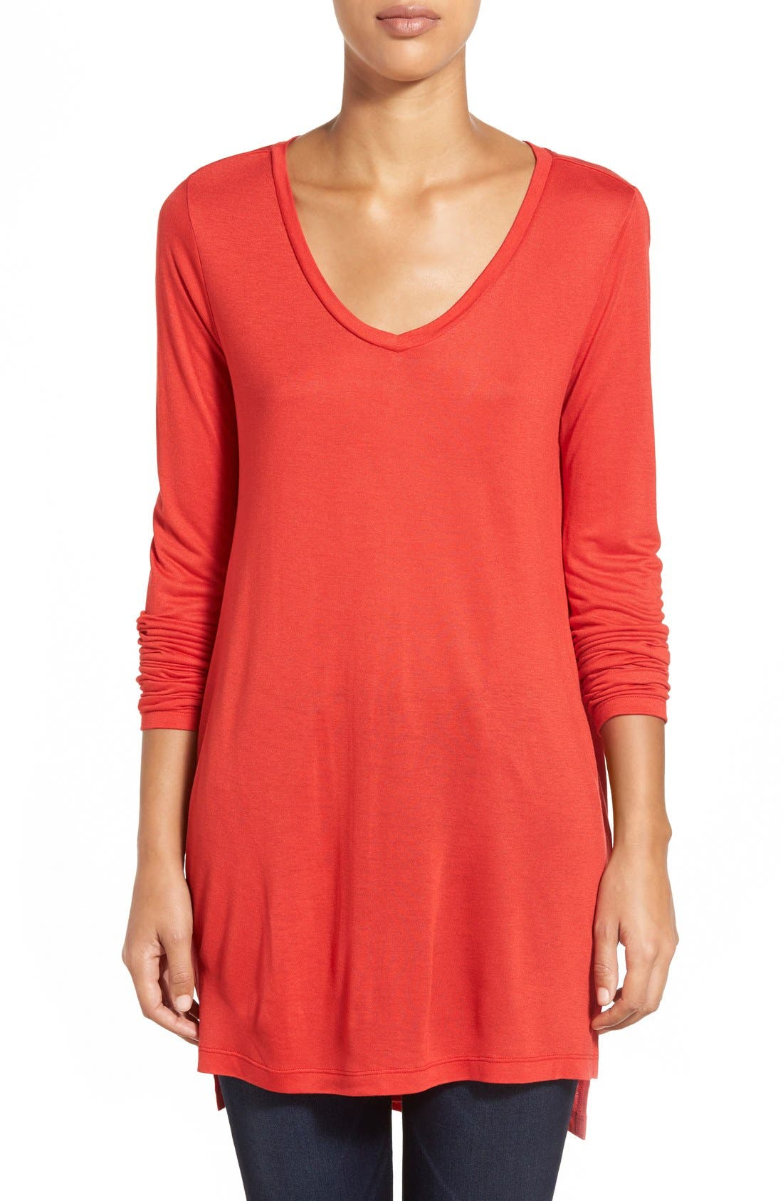 Long Sleeve Lightweight Tunic,                             Main thumbnail 1, color,                             Red Mars