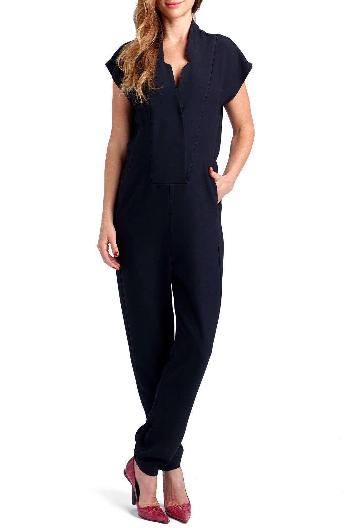 'Celia' Short Sleeve Maternity Jumpsuit,                         Main,                         color, Black