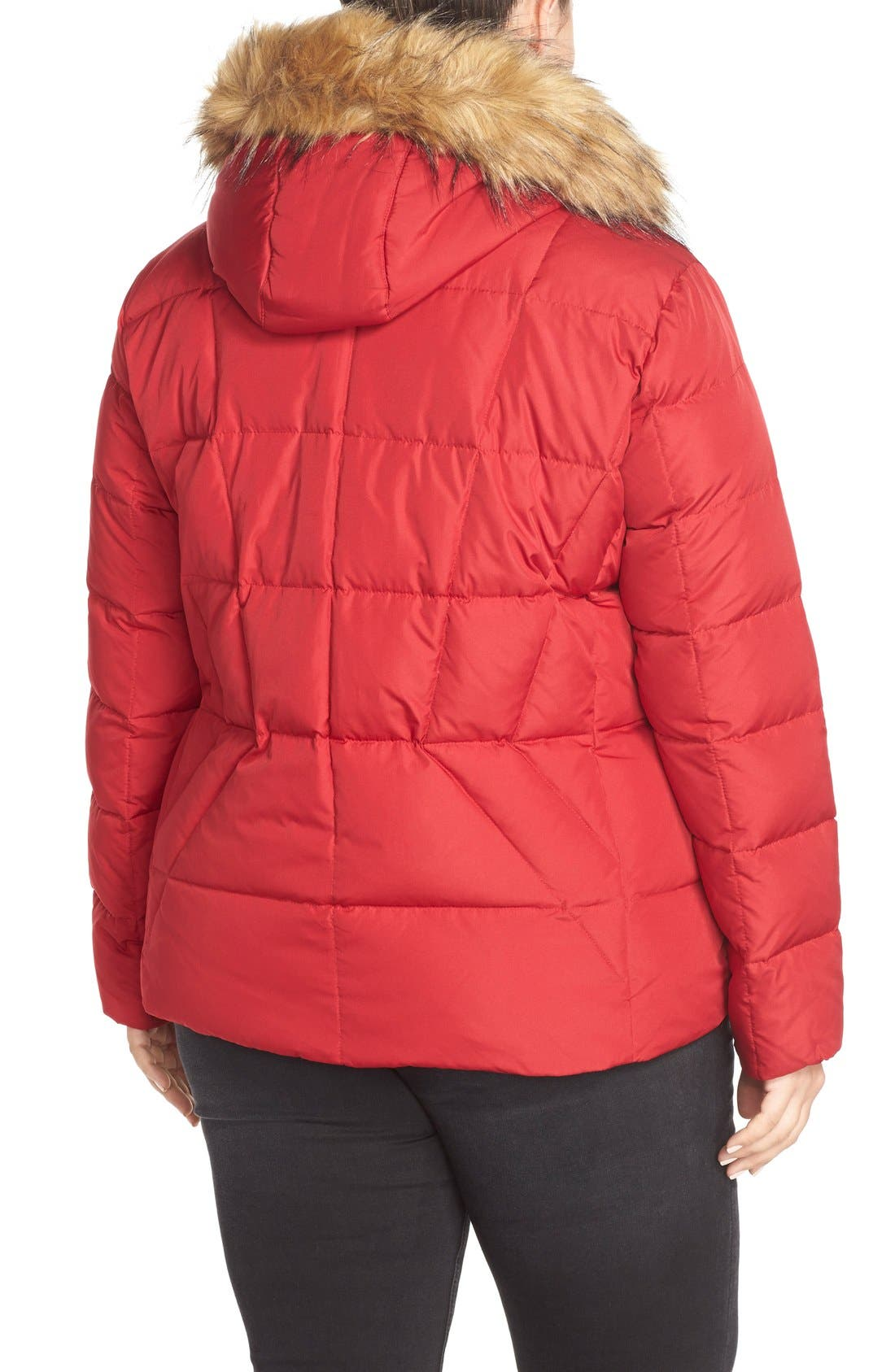 Alternate Image 2  - Calvin Klein Hooded Down & Feather Fill Jacket with Faux Fur Trim (Plus Size)