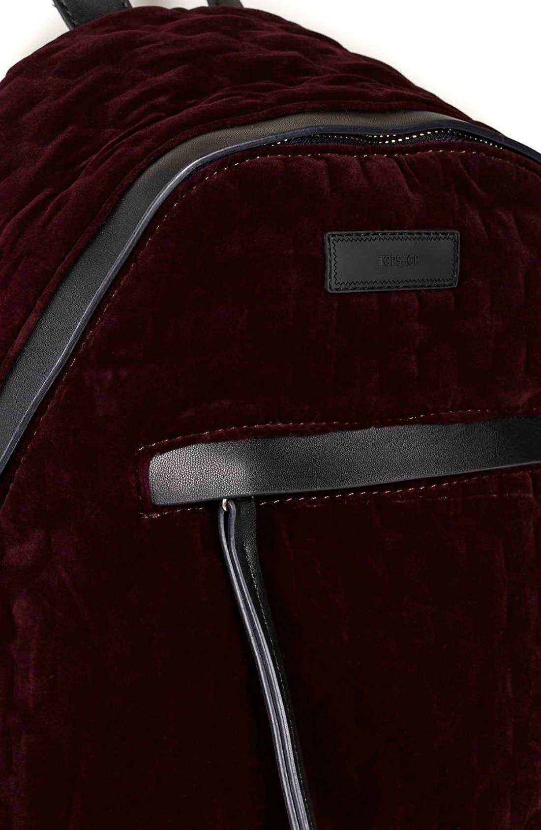 Alternate Image 4  - Topshop 'Bristol' Velvet Backpack
