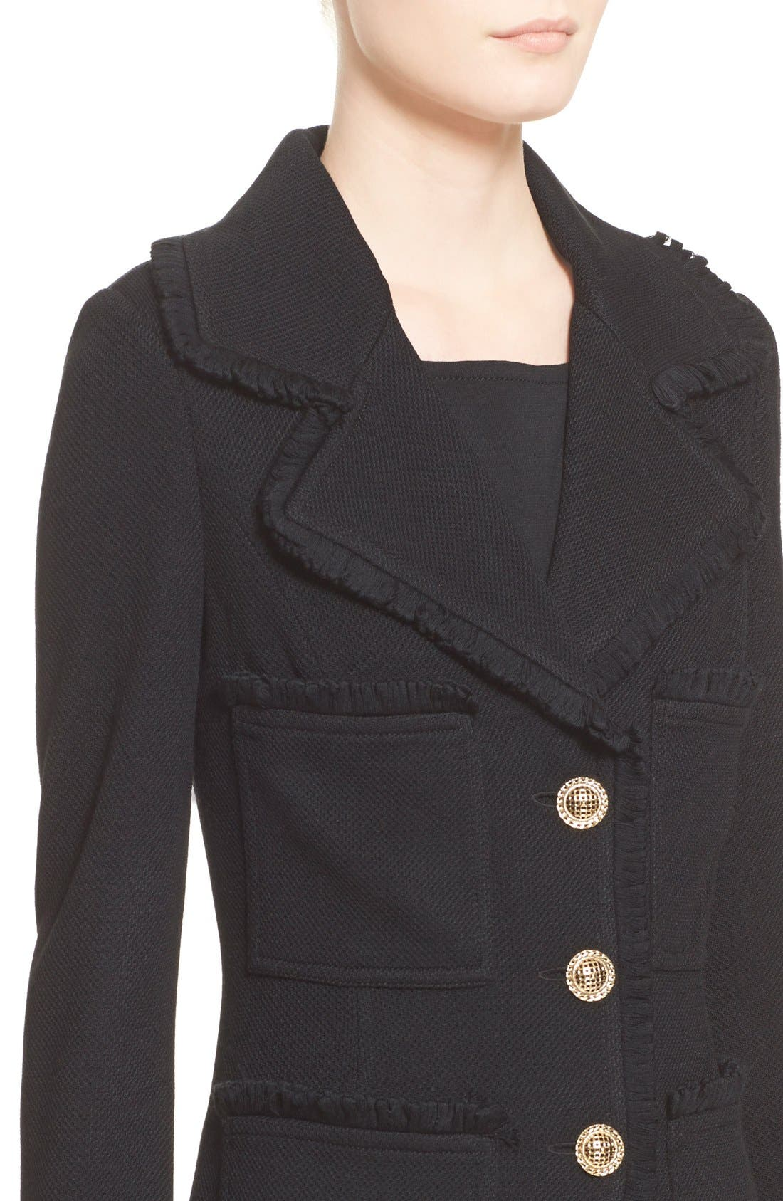 Alternate Image 6  - St. John Collection Fringe Trim Milano Piqué Knit Coat