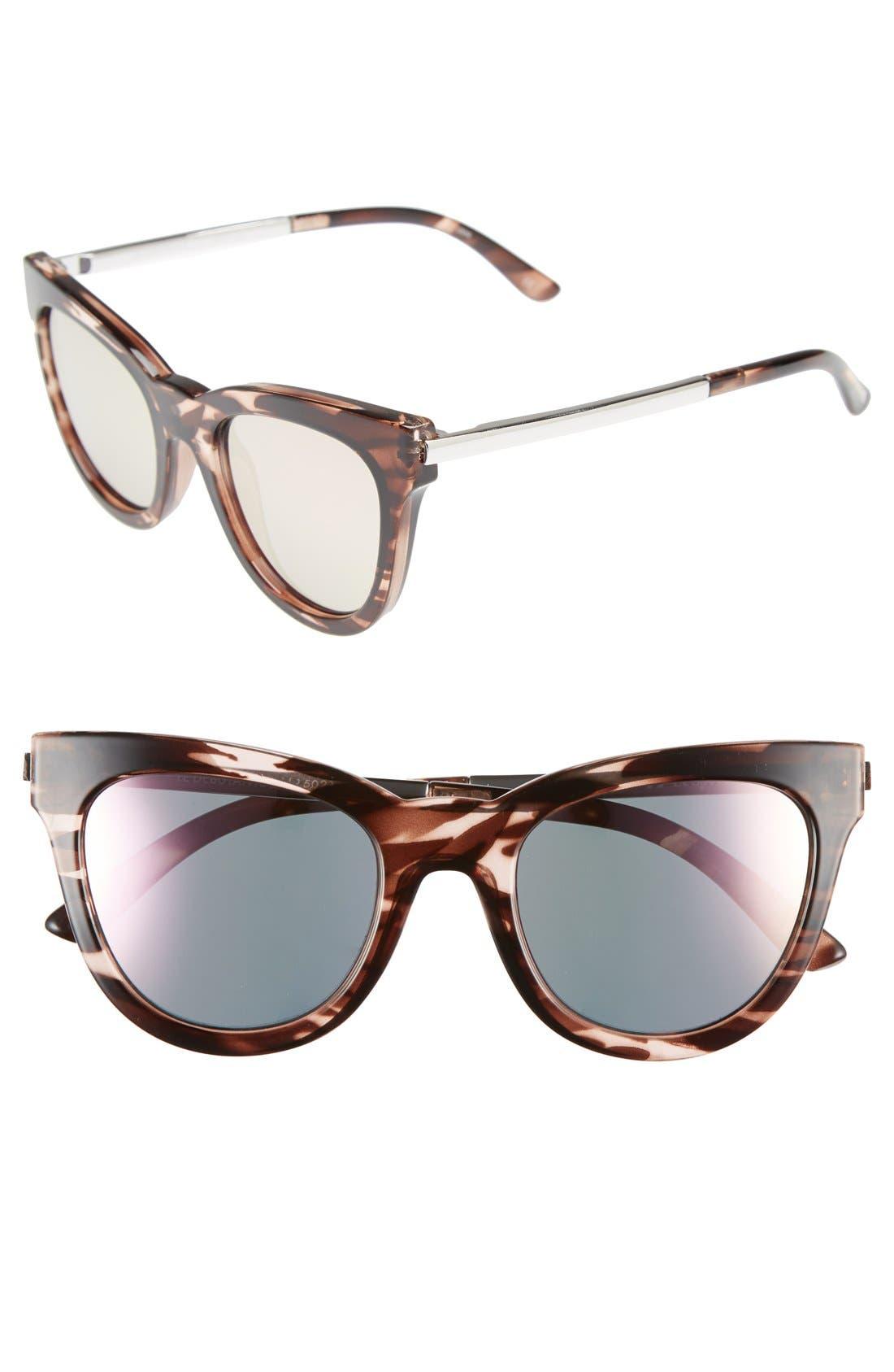 'Le Debutante' 51mm Cat Eye Sunglasses,                         Main,                         color, Rose Haze/ Peach Mirror