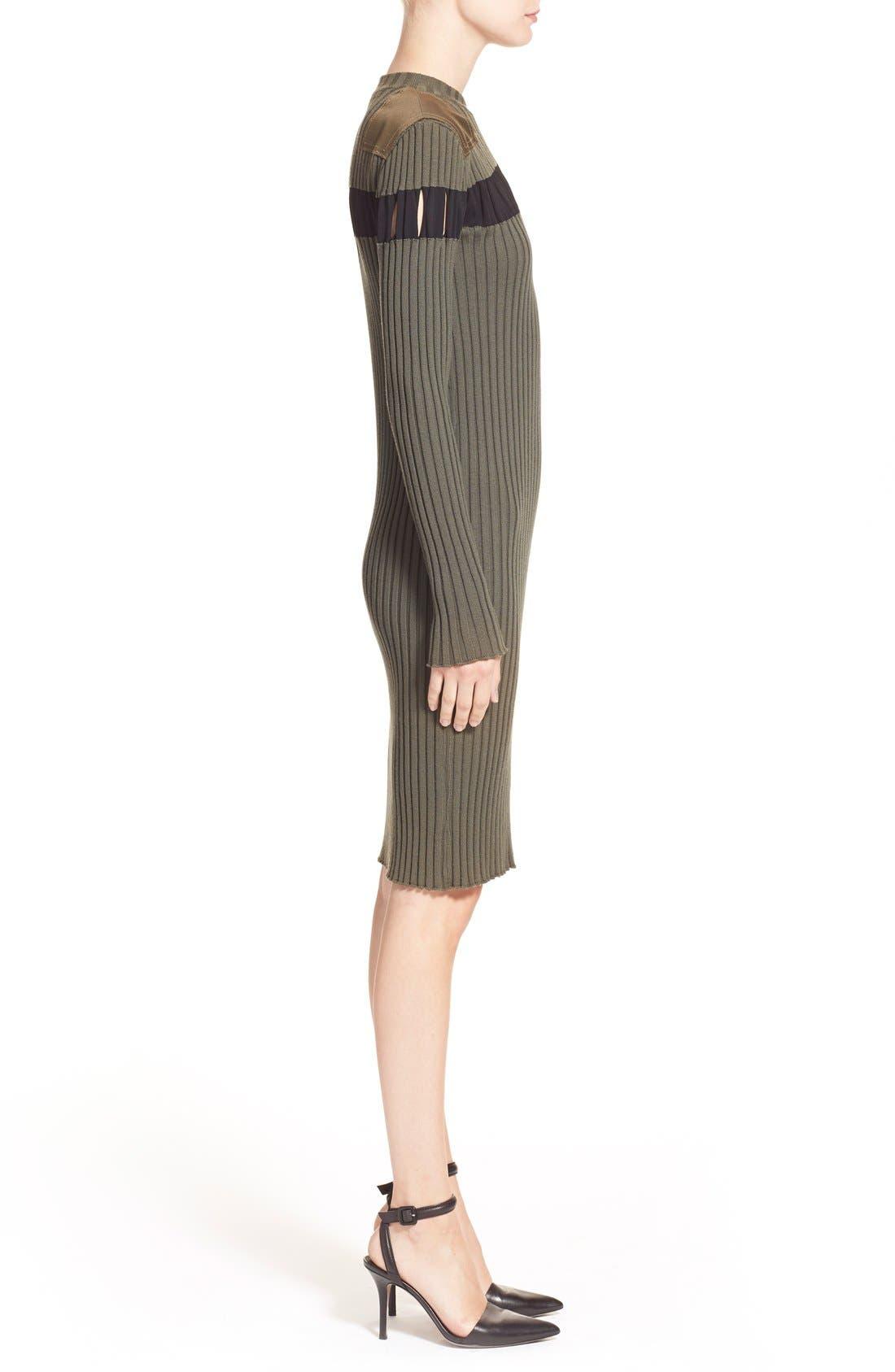 Alternate Image 5  - Alexander Wang Perforated Stripe Rib Knit Wool Dress