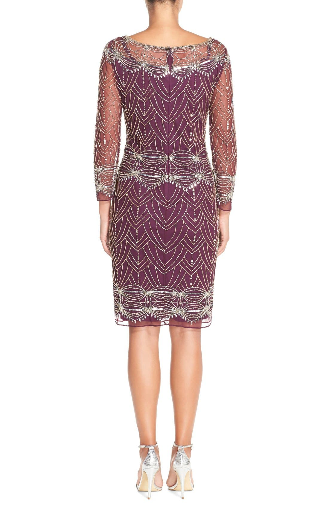 Alternate Image 2  - Pisarro Nights Beaded Mesh Cocktail Dress