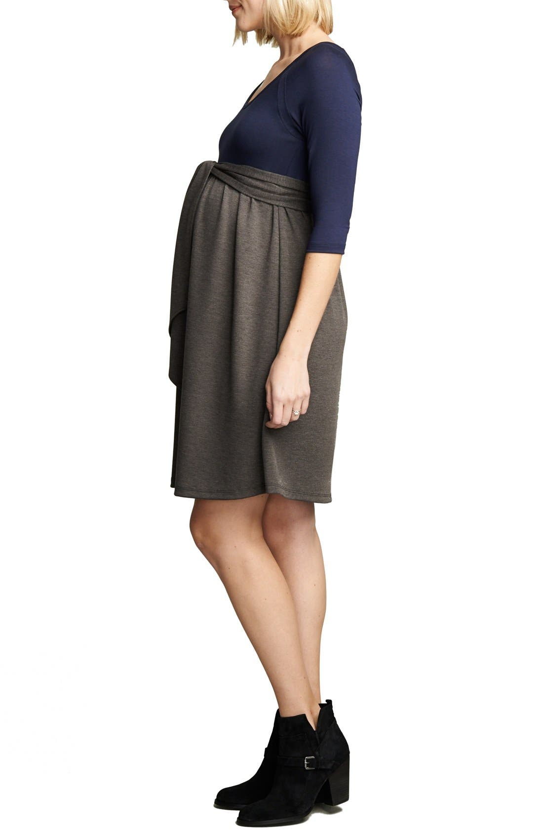Tie Front Maternity Dress,                             Alternate thumbnail 3, color,                             Navy/Charcoal