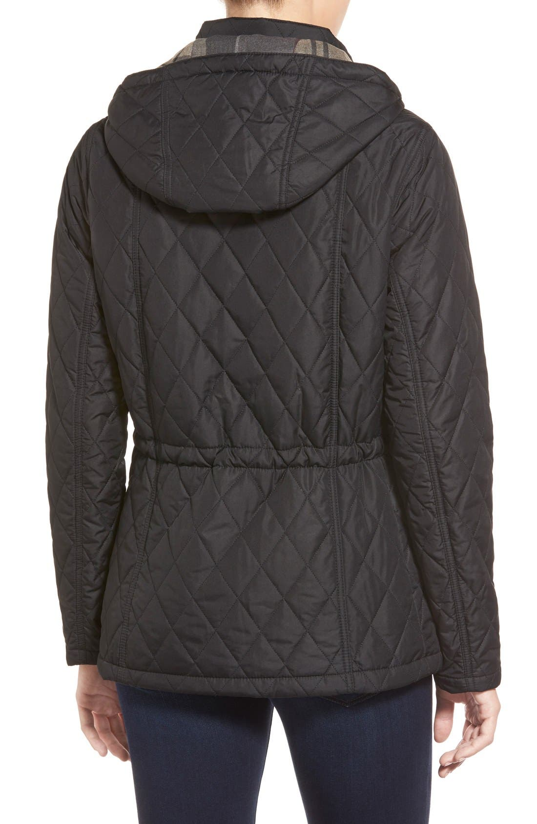 'Millfire' Hooded Quilted Jacket,                             Alternate thumbnail 2, color,                             Black