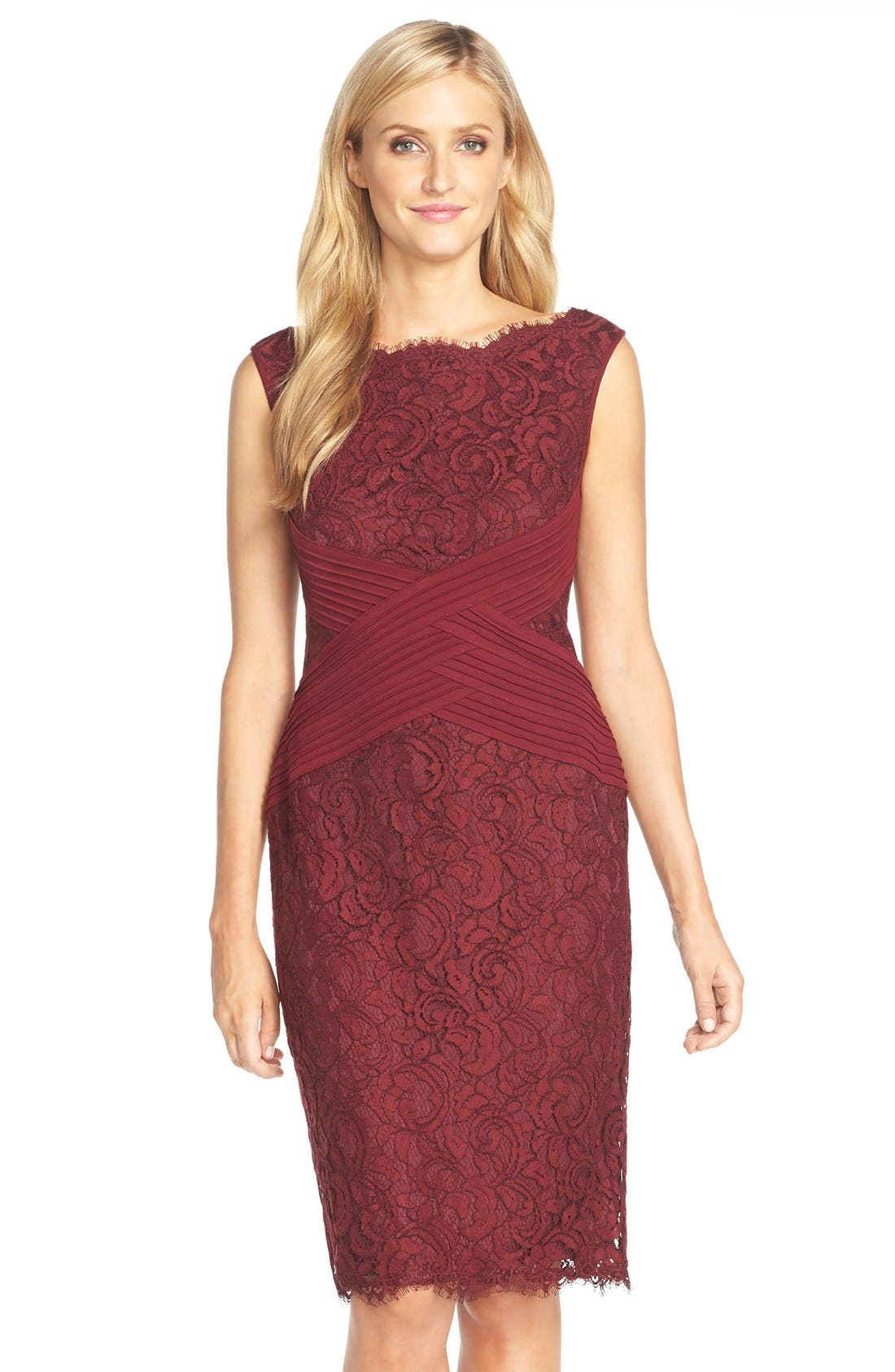Main Image - Tadashi Shoji Crisscross Waist Lace Sheath Dress (Regular & Petite)