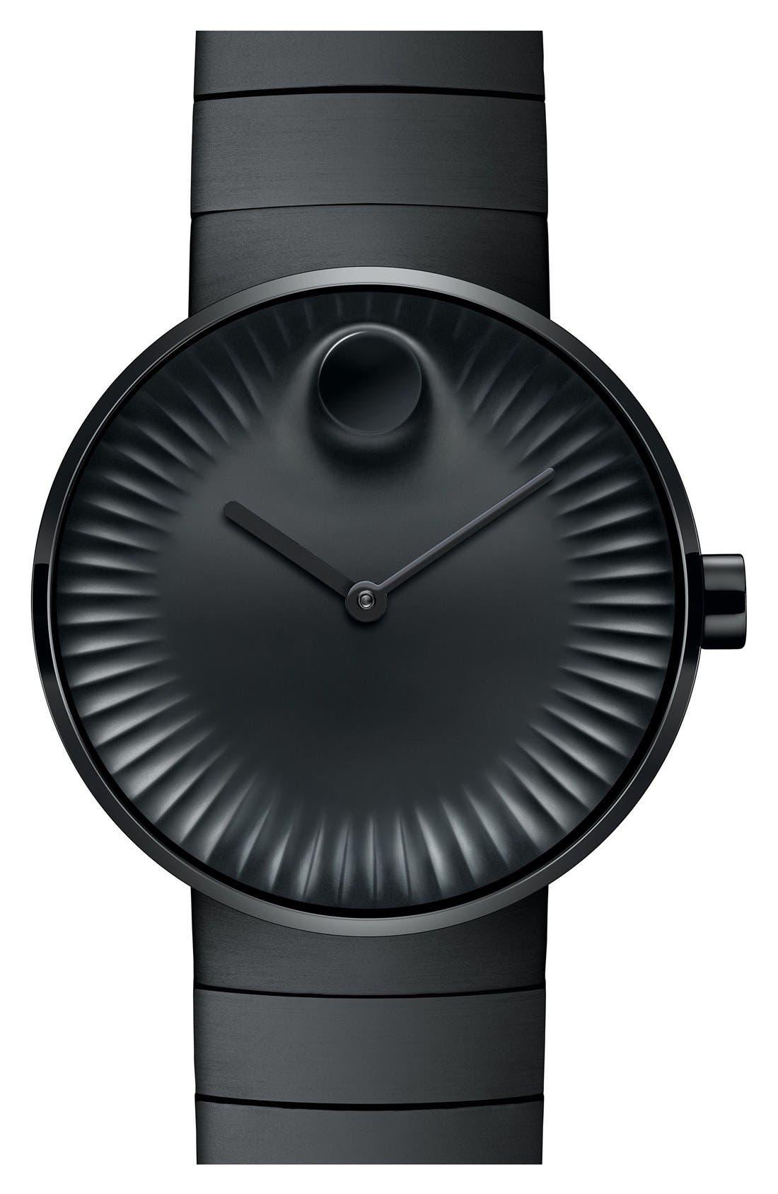 'Edge' Bracelet Watch, 40mm,                         Main,                         color, Black/ Black