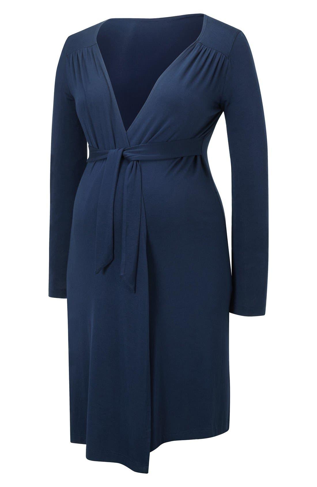 Jersey Maternity Robe,                         Main,                         color, Navy