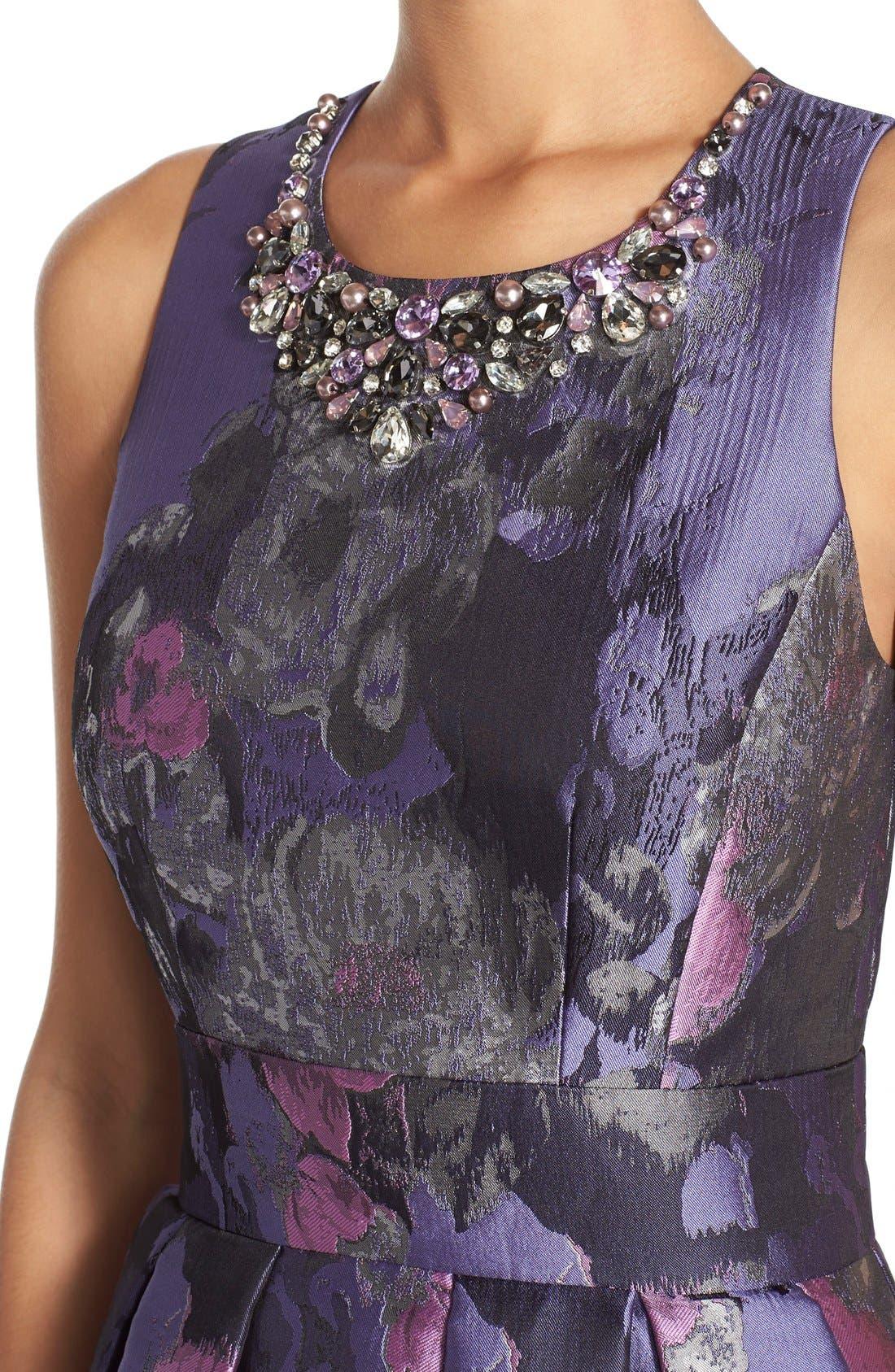 Alternate Image 4  - Eliza J Embellished Jacquard Fit & Flare Dress (Regular & Petite)