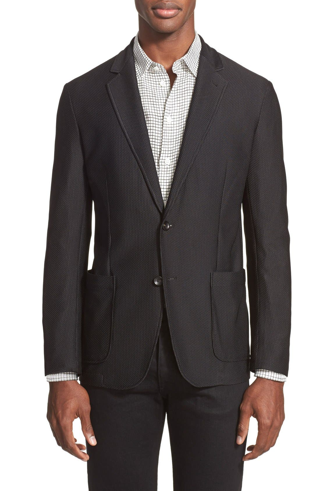 Main Image - Armani Collezioni Trim Fit Textured Sport Coat