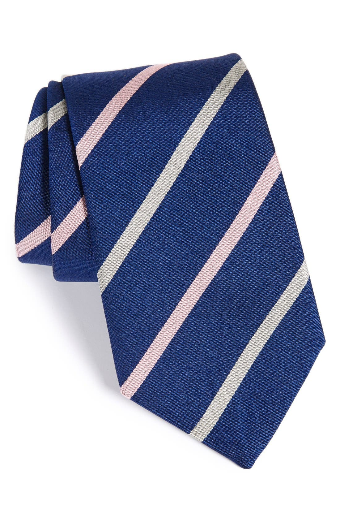 Stripe Silk Tie,                             Main thumbnail 1, color,                             Navy