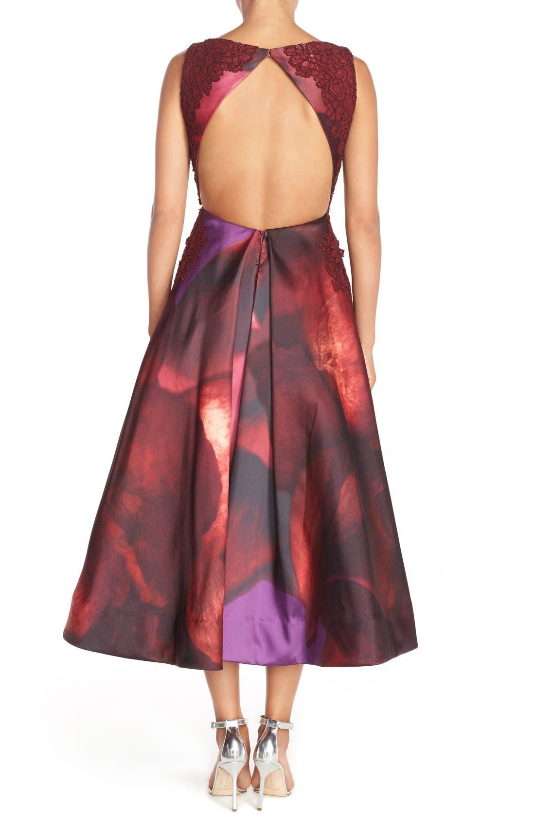 Alternate Image 2  - ML Monique Lhuillier Open Back Mikado Midi Dress
