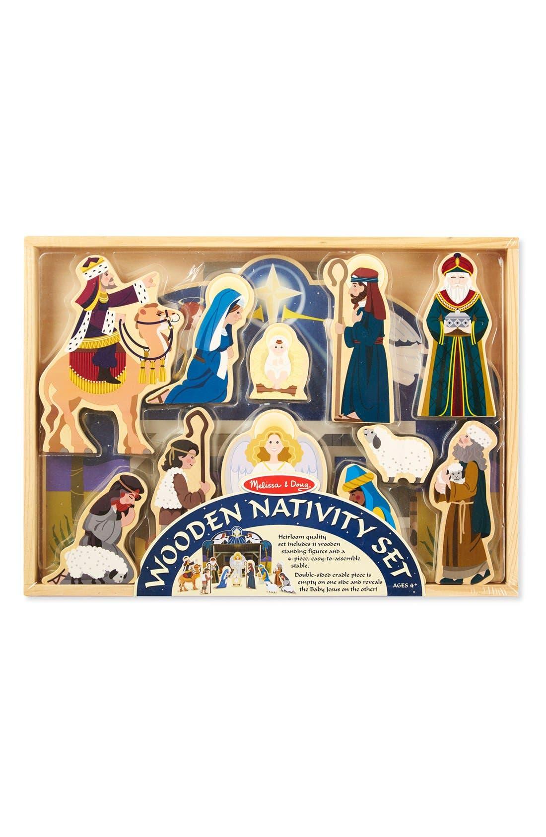 Wooden Nativity Set,                             Alternate thumbnail 2, color,                             Brown