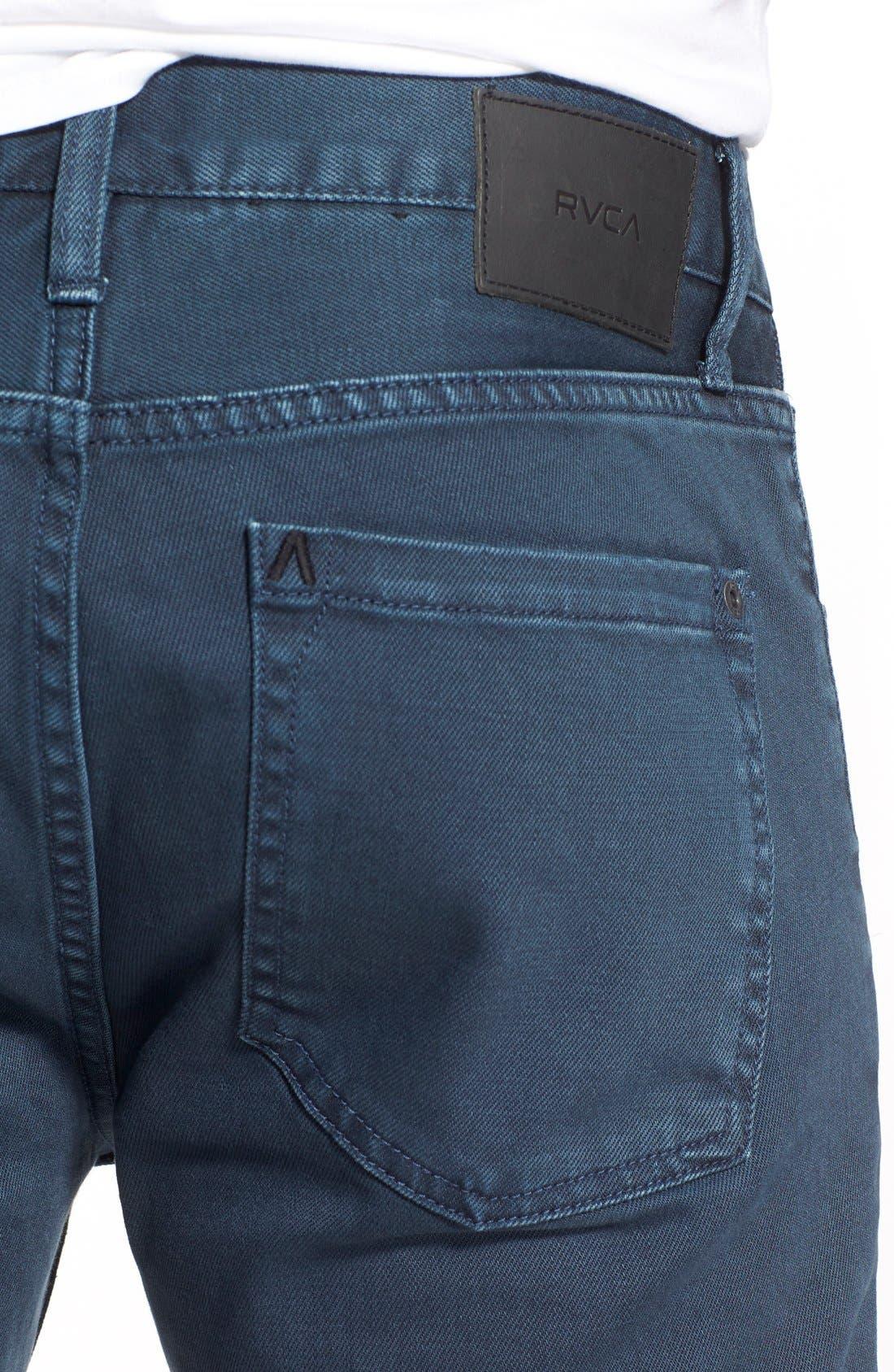 Alternate Image 4  - RVCA 'Daggers' Slim Fit Jeans (Army Drab)