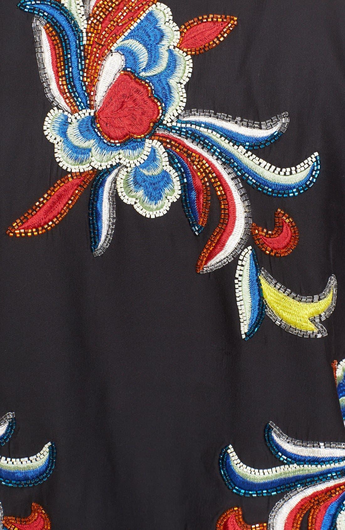 'Felisa' Embellished Silk Bomber Jacket,                             Alternate thumbnail 5, color,                             Black/ Multi