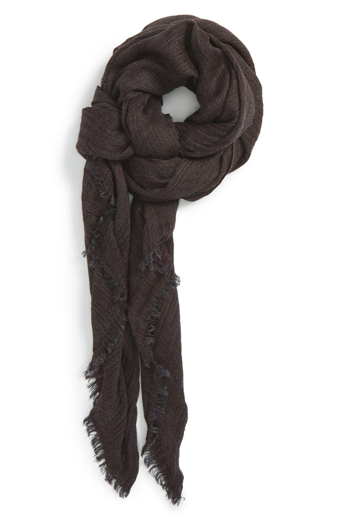 Fringe Scarf,                         Main,                         color, Charcoal