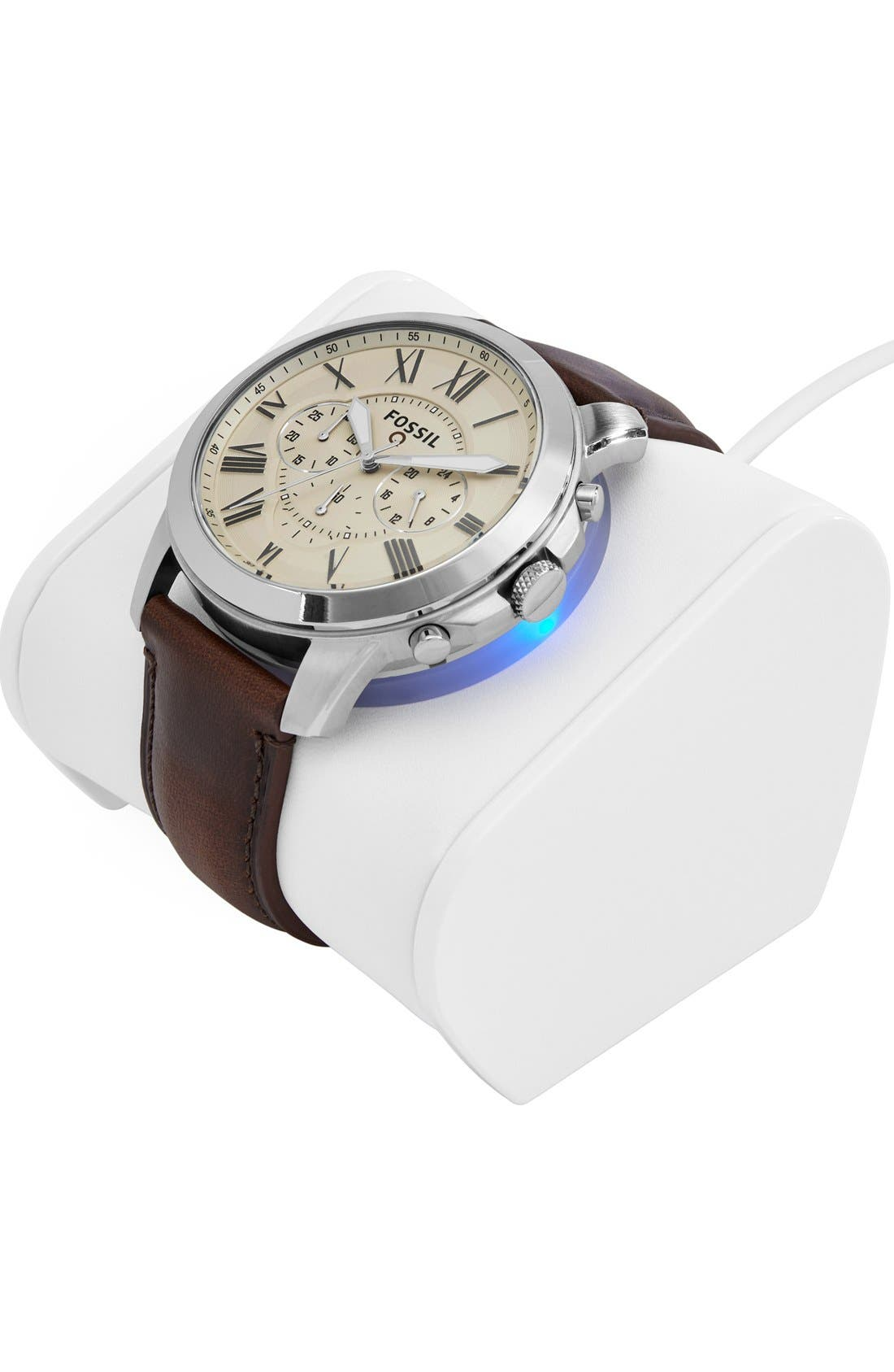 Fossil 'Fossil Q - Grant' Round Chronograph Leather Strap Smart Watch, 44mm,                             Alternate thumbnail 4, color,                             Brown/ Egg Shell
