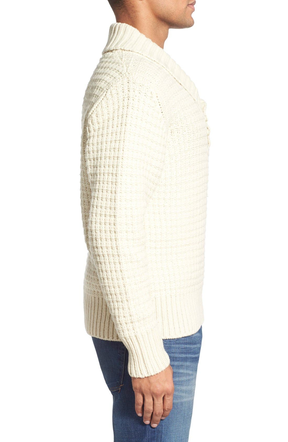 Shawl Collar Knit Pullover,                             Alternate thumbnail 3, color,                             Off White