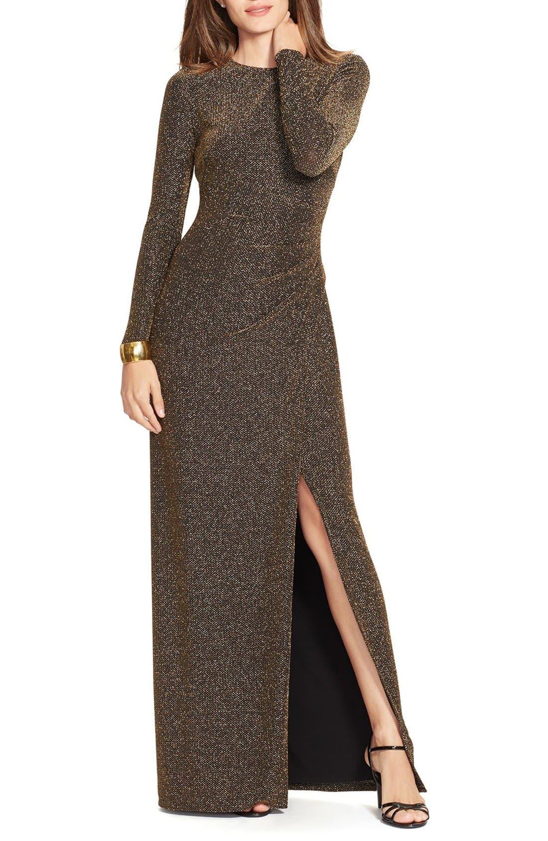 Alternate Image 1 Selected - Lauren Ralph Lauren Metallic Gown (Regular & Petite)