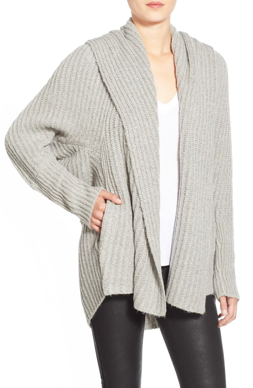 Leith Hooded Fuzzy Open Front Cardigan | Nordstrom