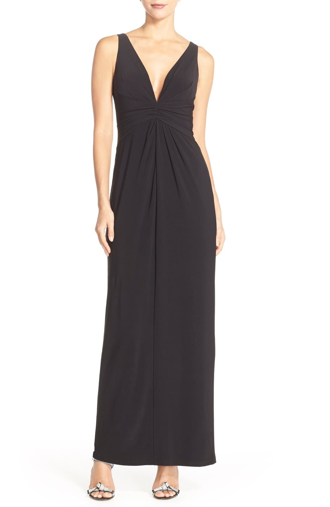 Jersey Fit & Flare Gown,                             Main thumbnail 1, color,                             Black