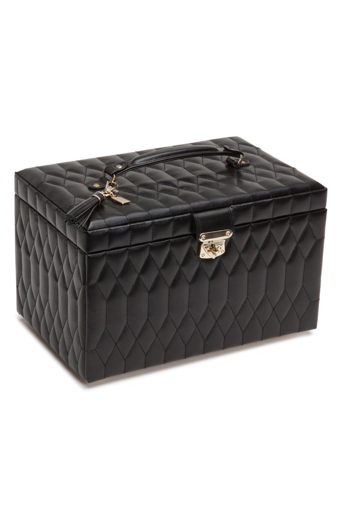 'Caroline' Jewelry Case,                         Main,                         color, Black