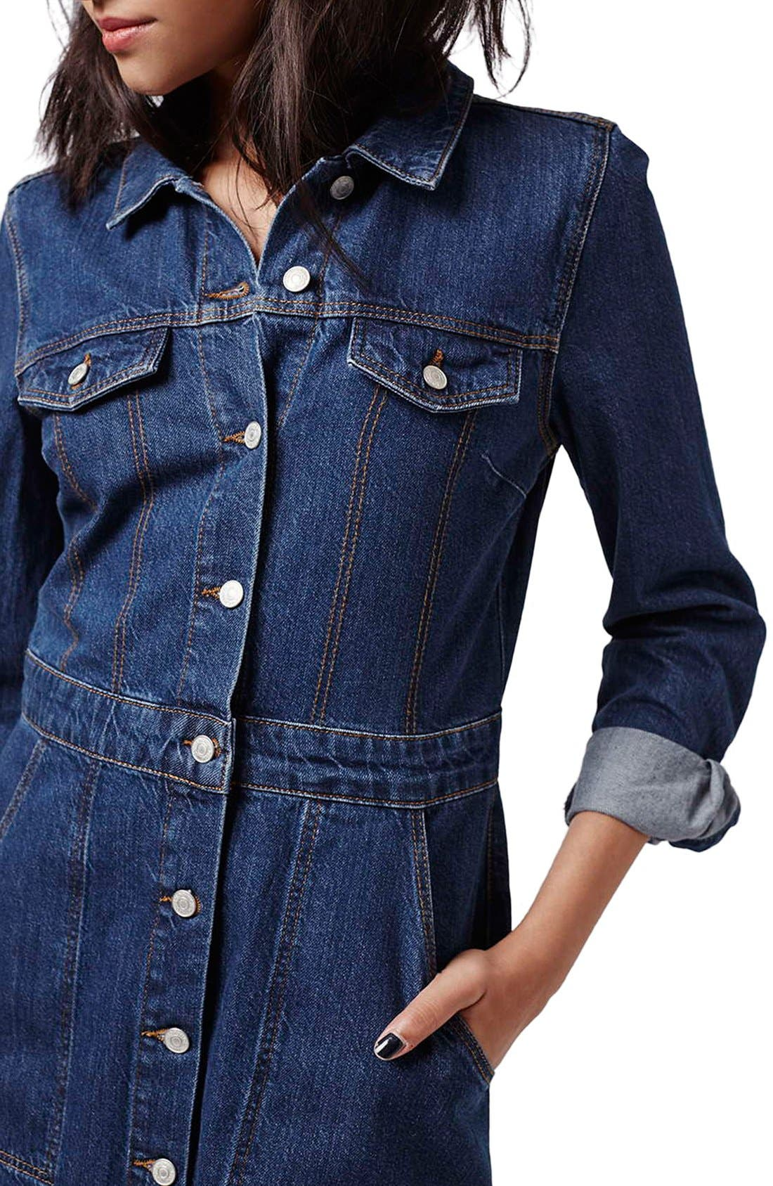 Alternate Image 4  - Topshop Denim Western Shirtdress