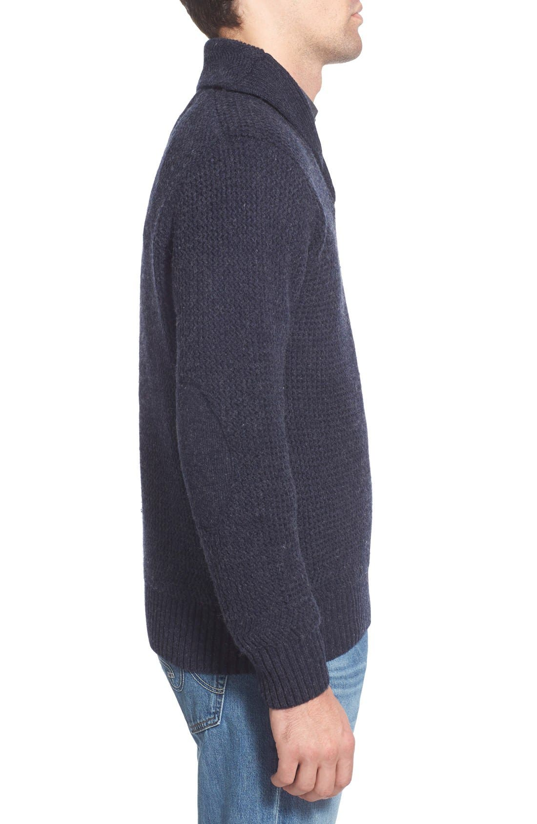Regular Fit Shawl Collar Sweater,                             Alternate thumbnail 3, color,                             Navy