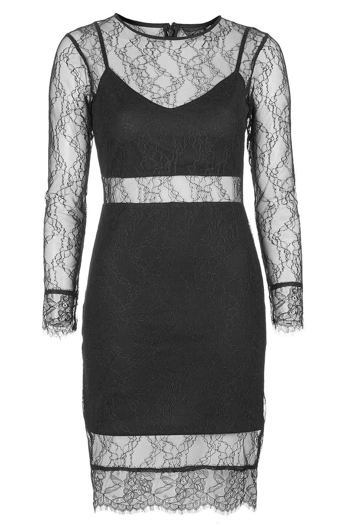 Alternate Image 6  - Topshop Lace Overlay Body-Con Dress (Regular & Petite)