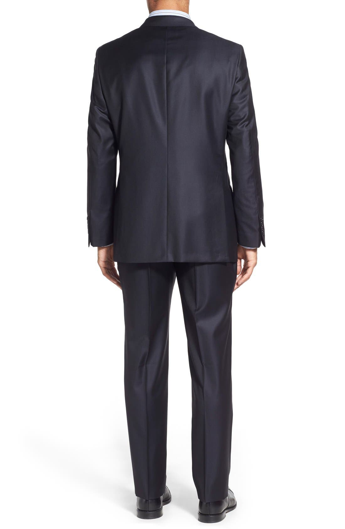 Classic B Fit Solid Wool Suit,                             Alternate thumbnail 2, color,                             Navy