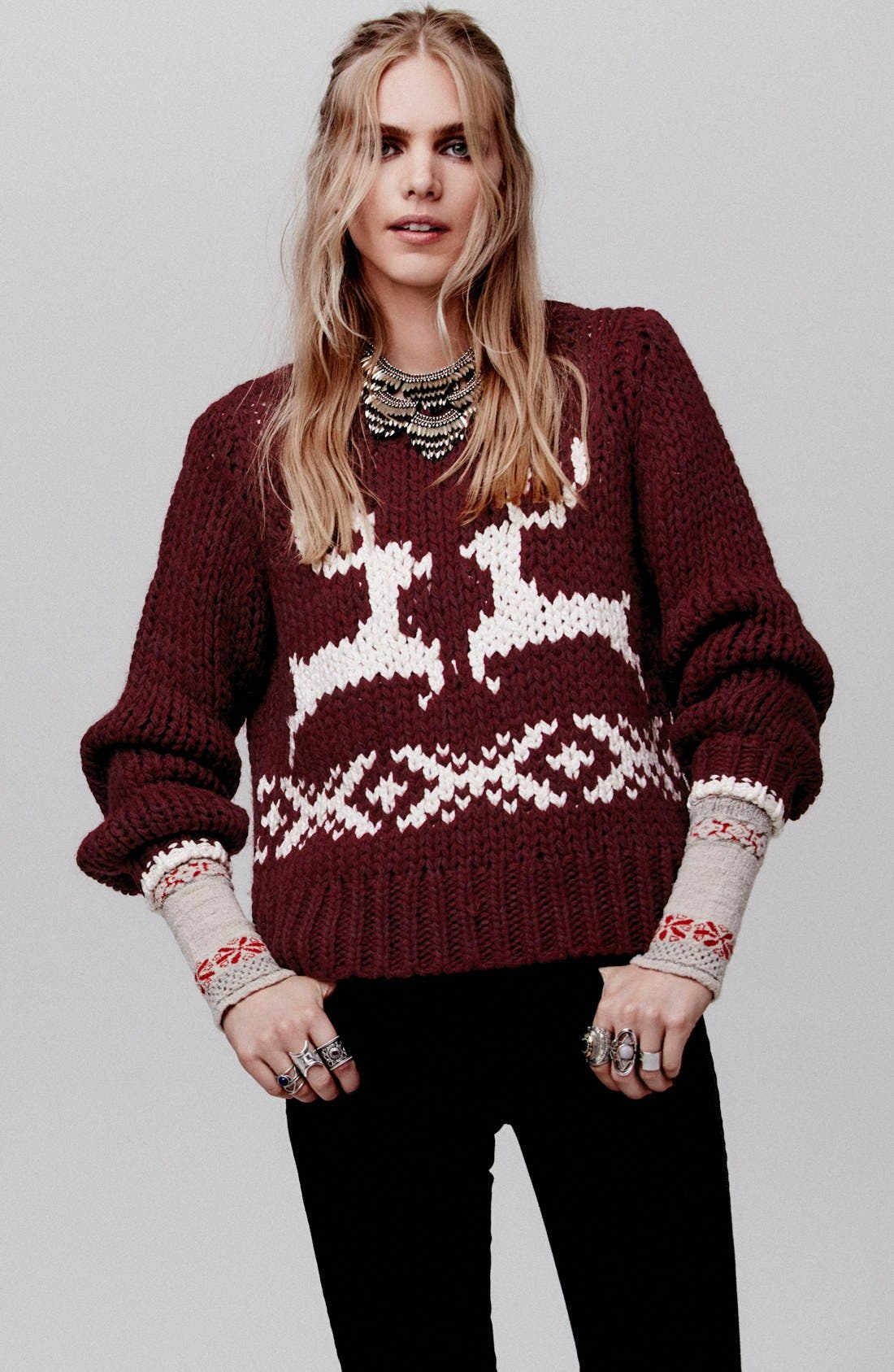 'Dancer and Prancer' Sweater,                             Alternate thumbnail 5, color,                             Beet Root